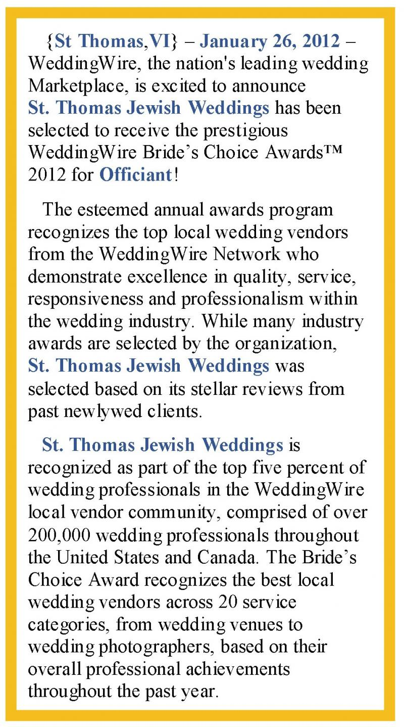 2012 Wedding Wire Bride's Choice Award-Press Release